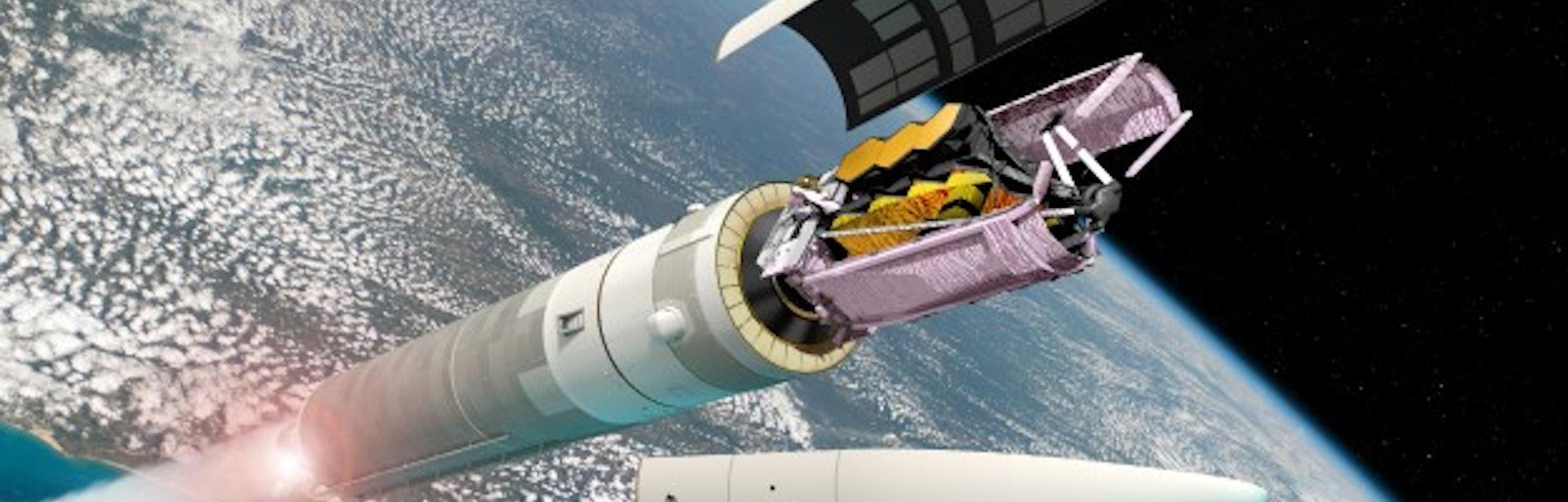 Webb illustration of post-launch faring shedding