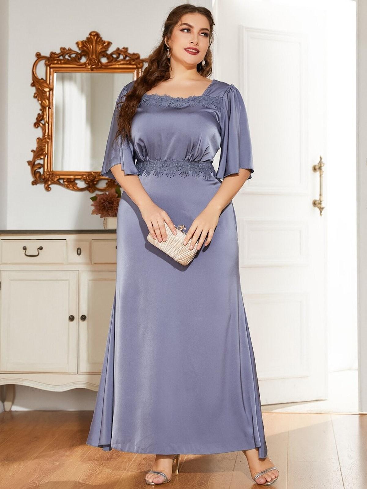 Plus Satin Lace Trimed Square Neck Dress