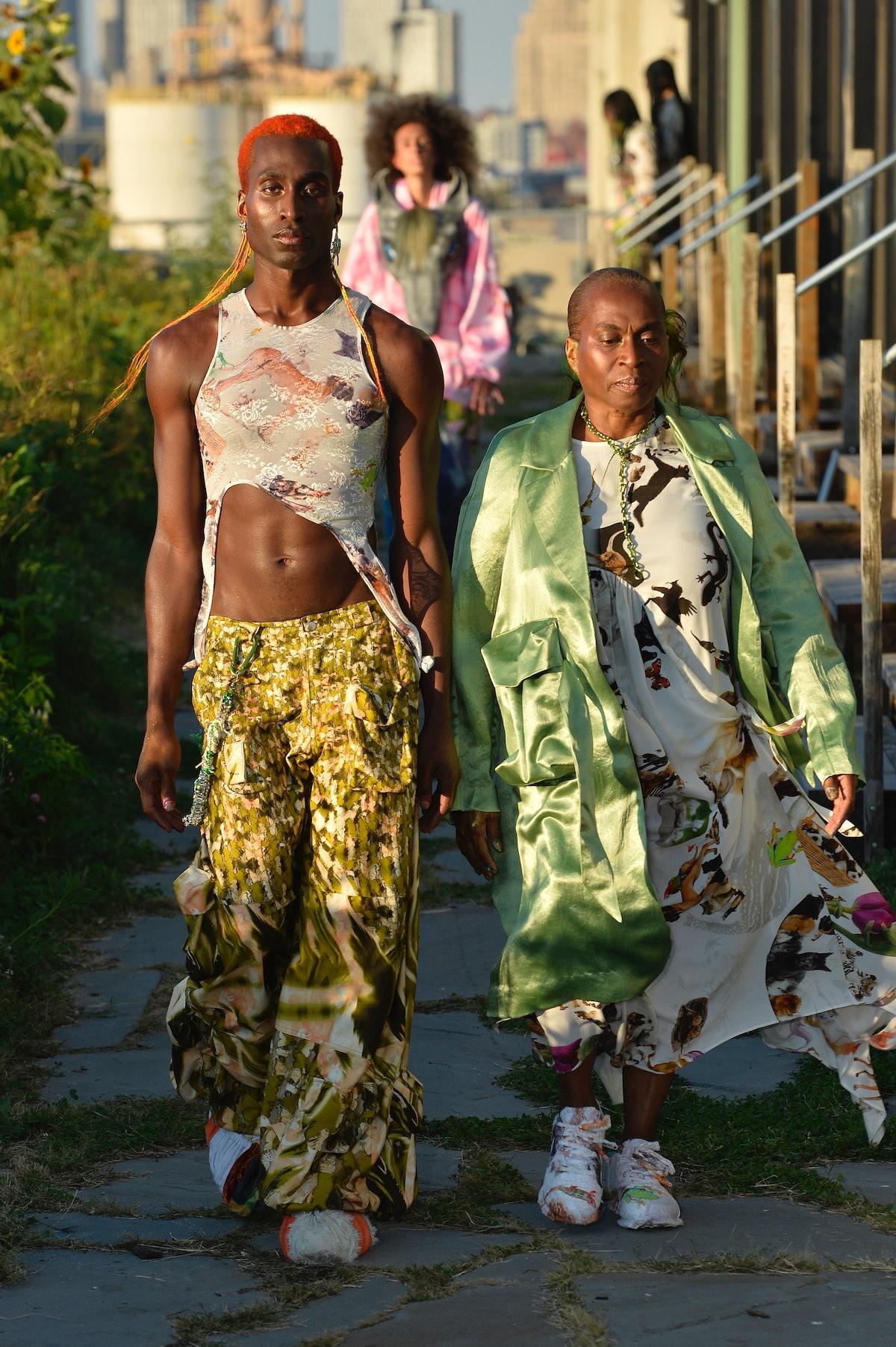 A model walks the runway at Collina Strada Spring/Summer 2022 at Brooklyn Grange Rooftop during New...