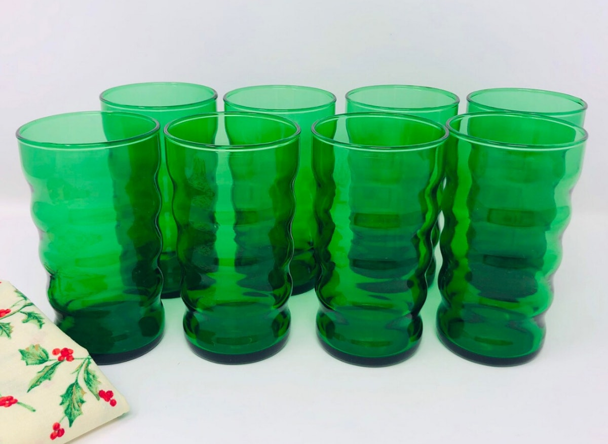 Anchor Glass Forest Green Ribbed Ripple Juice Tumblers, Set of 8