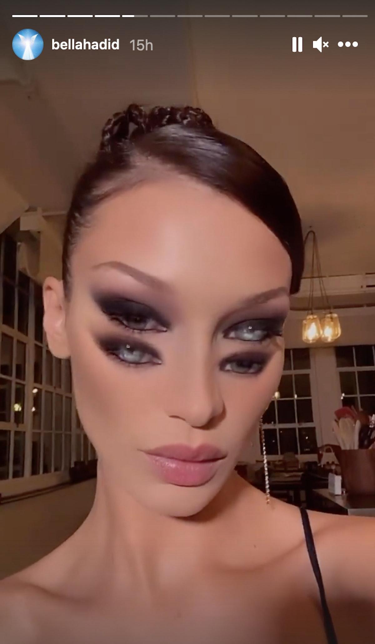 Bella Hadid NYFW smokey eye Instagram story with braided updo