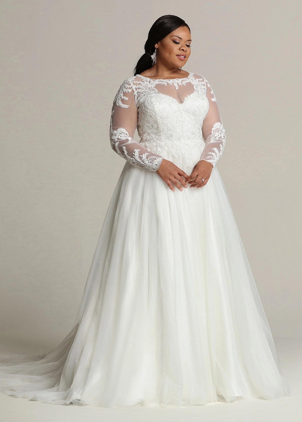 Avery Austin Long Sleeve Lace and Tulle Ball Gown Wedding Dress Victoria