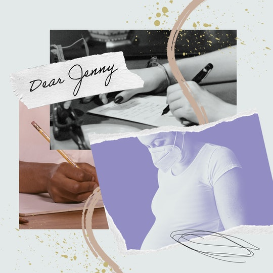 A collage with the image of a pregnant woman and an image of a hand writing a letter.