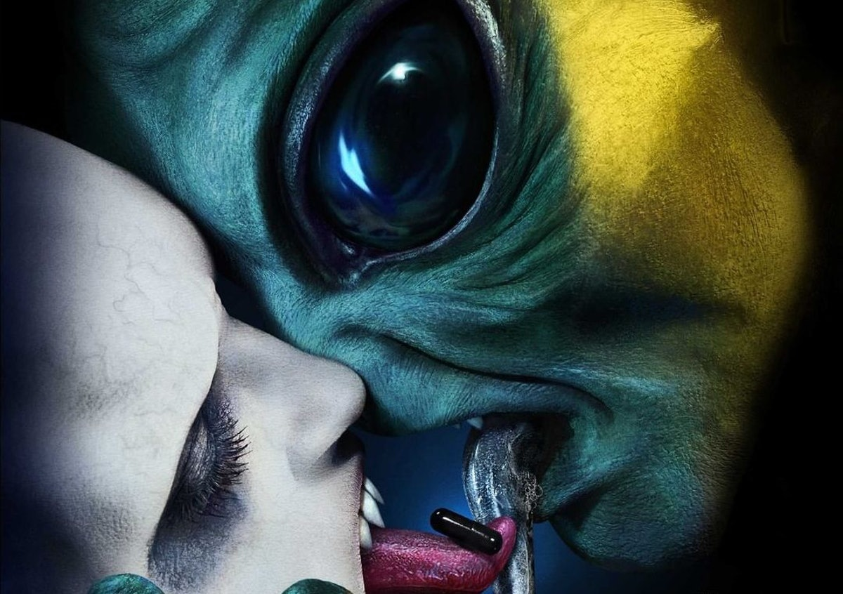 The poster for 'AHS: Double Feature' has zombies and aliens sharing the black pill