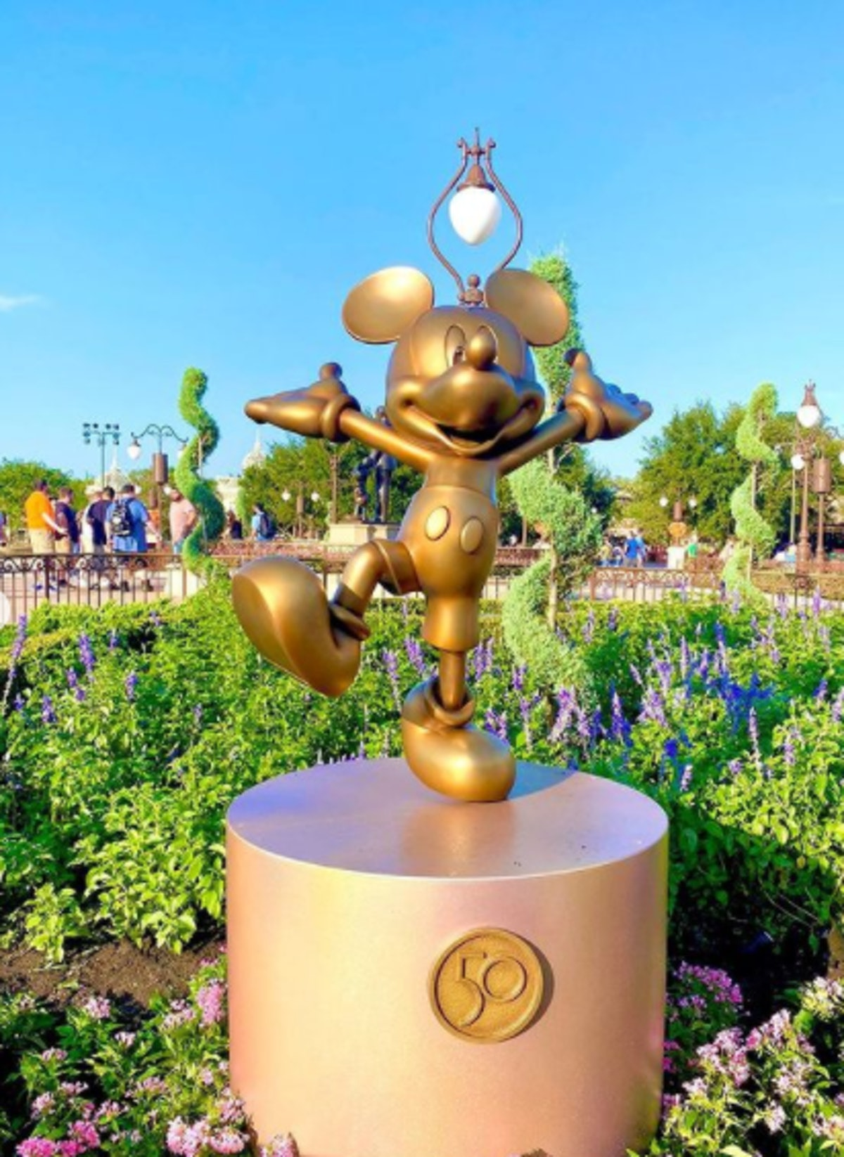 These photos of Disney's gold statues for the 50th anniversary include Mickey Mouse.