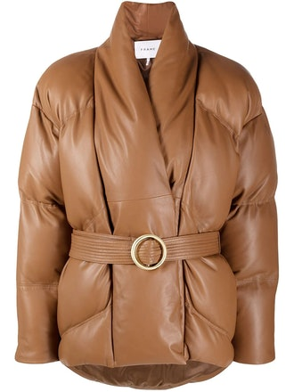 Brown wrap leather puffer jacket from FRAME, available to shop via Farfetch.