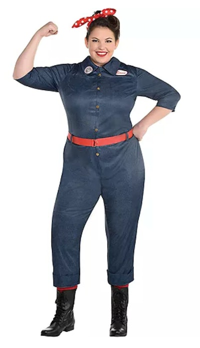 This adult Rosie the Riveter jumpsuit Halloween costume is a great choice for women.