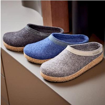 HAFLINGER Leather Trimmed Wool Clogs