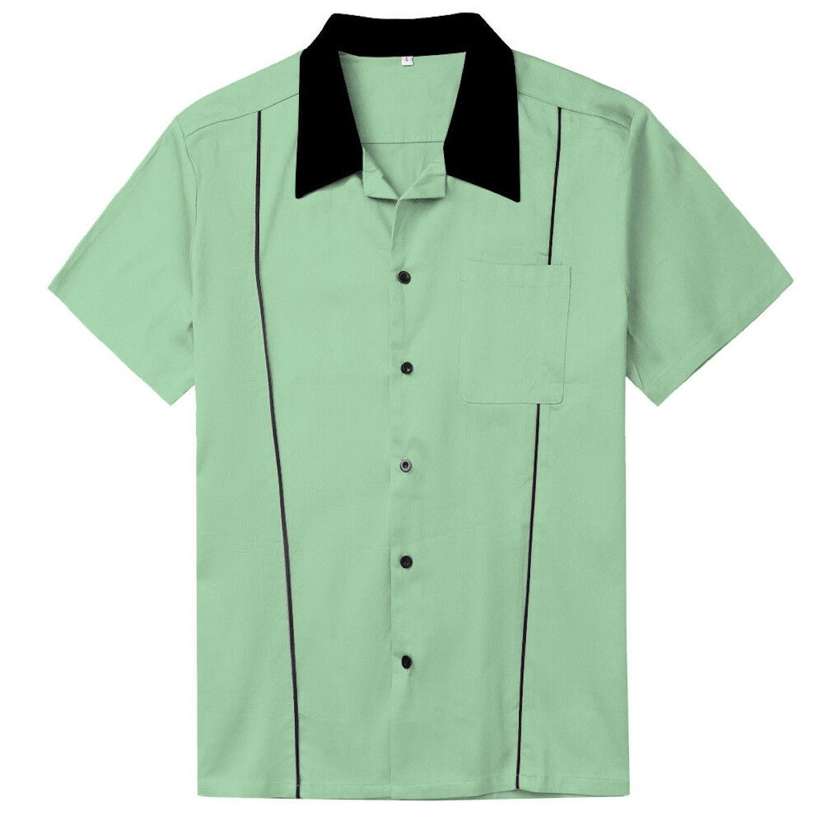Mens Shirts Plus Size Clothing Rockabilly Retro Bowling Shirts Mint Green