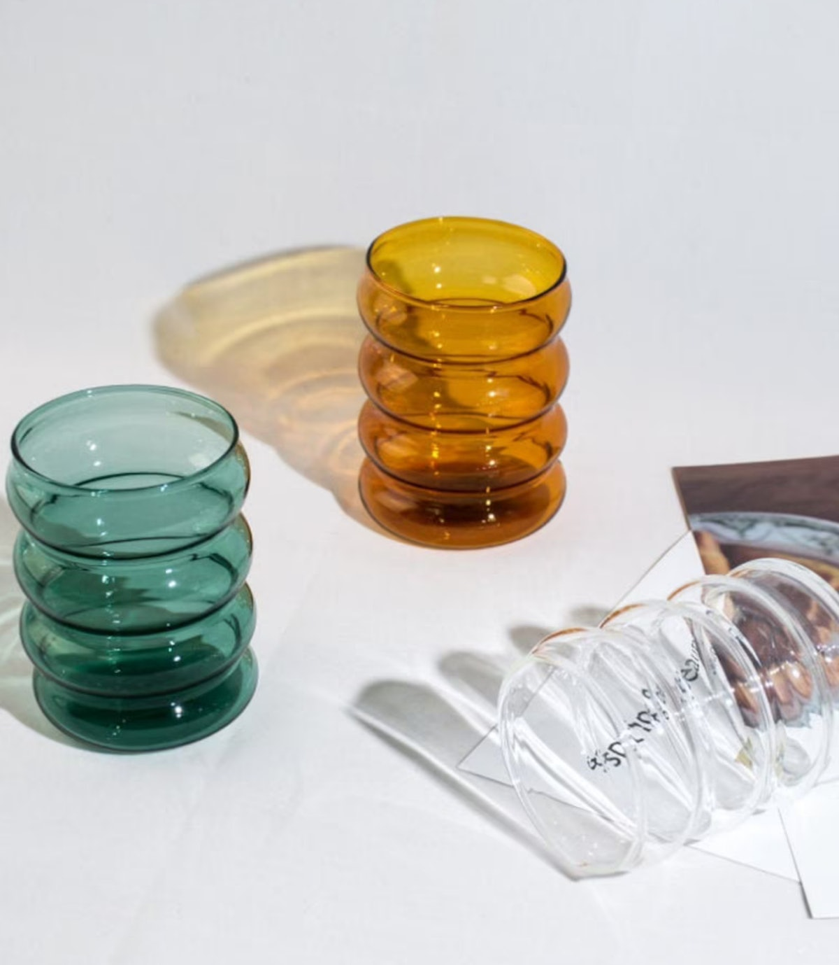 Set of 2 - Hand Blown Colored Ripple Puffy Glass