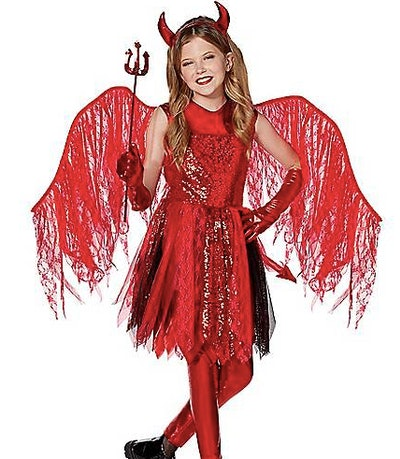 Girl dressed as a devil