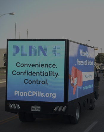 Plan C Pills abortion rights truck in Texas