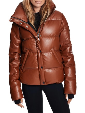 Isabel Vegan Leather Puffer Down Jacket from SAM., available to shop via Saks Fifth Avenue.