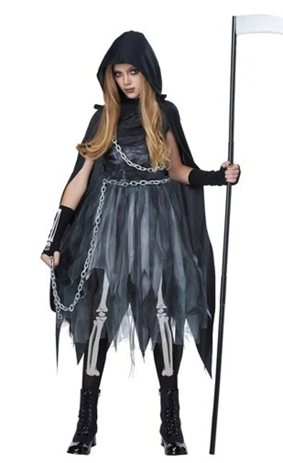 Girl dressed as grim reaper