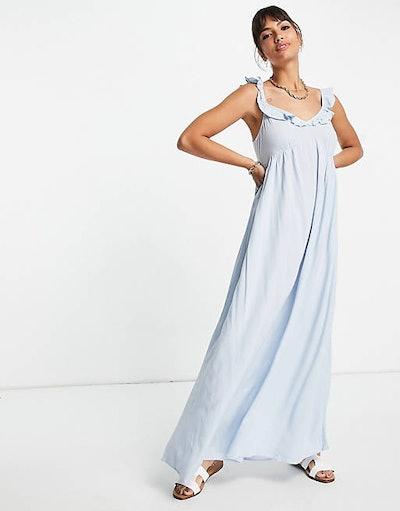 Vila Maxi Beach Dress With Ruffle Shoulder
