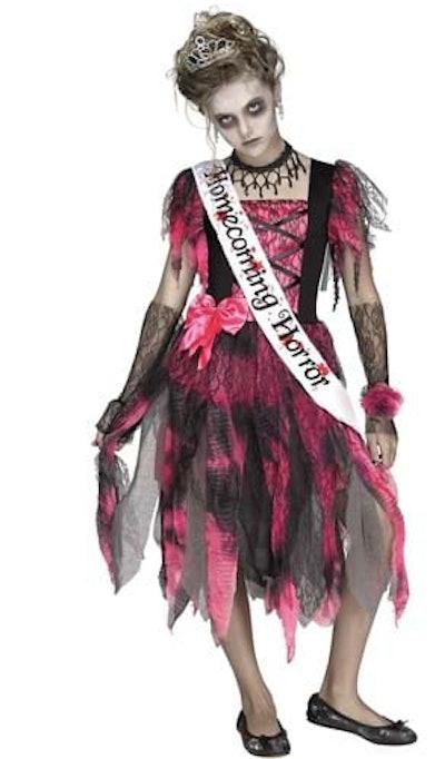 Zombie Homecoming Queen costumed child