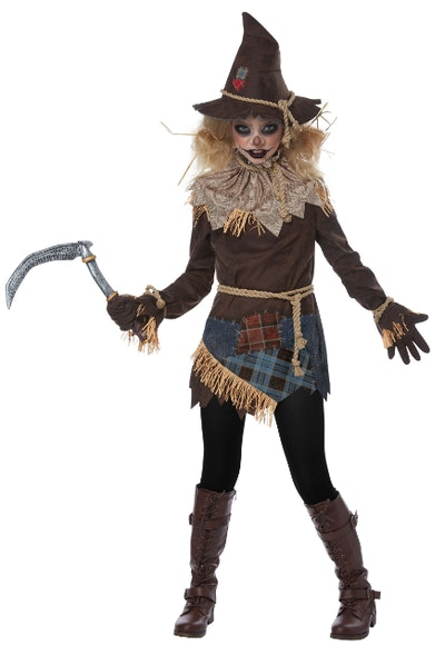 Girl dressed as a spooky scarecrow