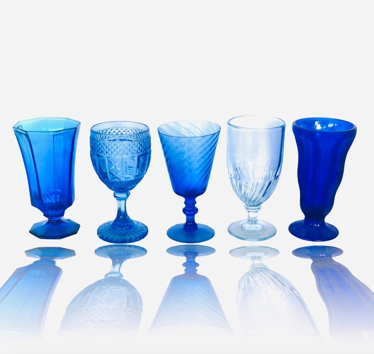 Mismatched Set of Colorful Blue Glassware