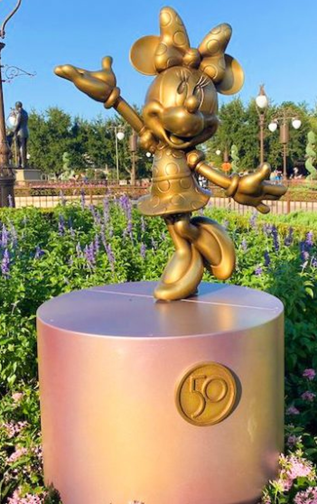 Disney's Gold Statues for the 50th anniversary features classic characters like Minnie Mouse.