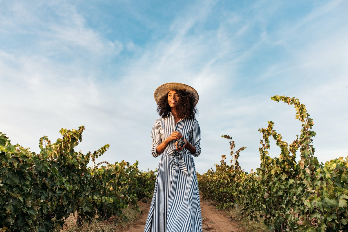 Young woman in a straw hat walking in a path in the middle of a vineyard with a bunch of grapes in h...