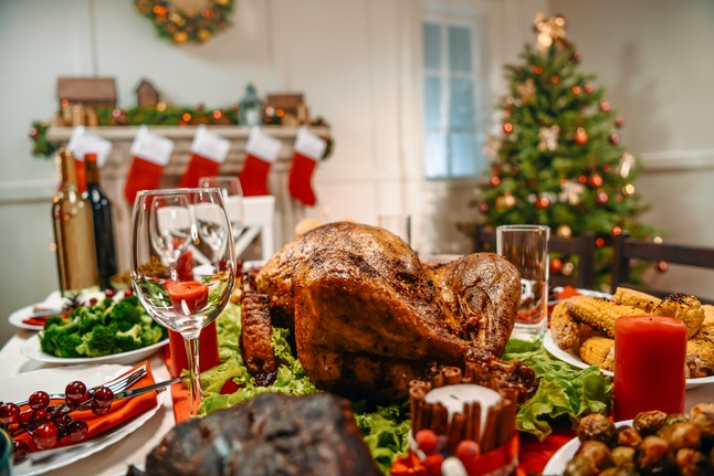 served table with delicious dinner for christmas dinner