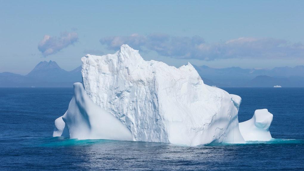 Single iceberg. Greenland coast iceberg floating