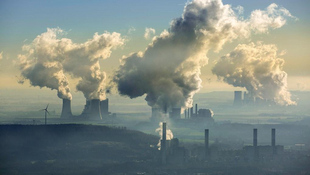 Lignite power plants, lignite mine Garzweiler, Neurath power plant, Block F and G (BoA 2/3), RWE lignite power plant, wind turbines, Grevenbroich, Bergheim, Rhineland, North Rhine-Westphalia, Germany