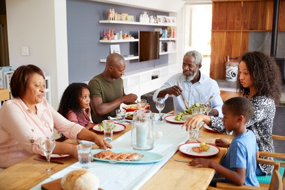 Multi-Generation Family Sitting Around Table At Home Enjoying Meal Together. If there's tension at the dinner table and you decide to discuss your dietary choices, it can help to get curious about the other person's point of view.