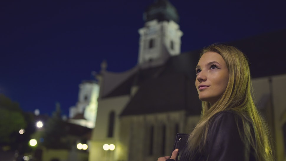 Teen Girl Night Portrait with Church Tower
