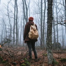 man walking on a dark path through a spooky forest. Hipster with a backpack behind his back goes on a trip