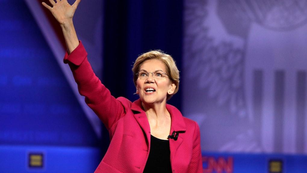 Democratic presidential candidate Sen. Elizabeth Warren, D-Mass., speaks during the Power of our Pri...