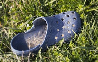 Blue plastic sandal in the green grass