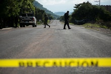 General view of the operation of the Security Forces after the ambush of a police convoy by an armed...
