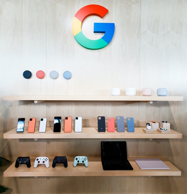 A display of new Google products during a Google product launch event called ?Made by Google ?19? in New York, New York, USA, 15 October 2019. The company introduced a number of new products at the event including a new phone, a new laptop, earbuds, and a new smart speaker.