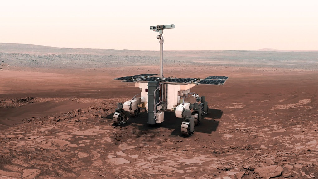 This undated artist rendering from the European Space Agency, shows the European-Russian ExoMars rover. As Mars' newest resident settles in, Planet Earth is working on three more landers and at least two orbiters to join the scientific Martian brigade. ExoMars also will sniff out possible past life, drilling a couple yards (meters) down for chemical fossils. A spacecraft that was part of an ExoMars mission in 2016 crash-landed on the red planet. NASA's InSight spacecraft touched down on Mars on