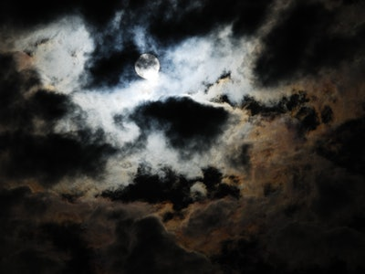 A cloudy night sky on Halloween