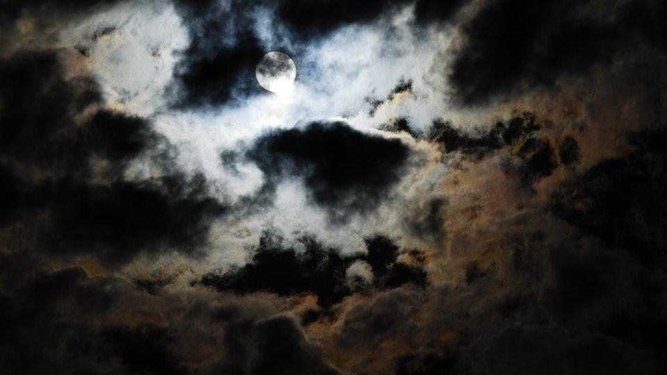 A cloudy night sky on Halloween