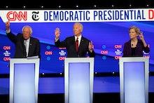 Bernie Sanders, Joe Biden, Elizabeth Warren. Democratic presidential candidate Sen. Bernie Sanders, ...