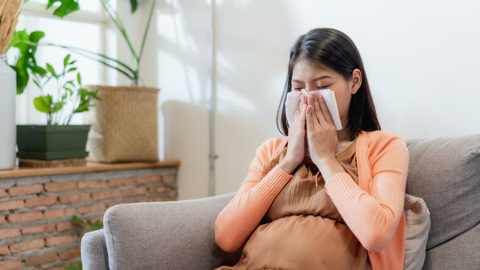 Young Asian pregnant woman blowing her nose