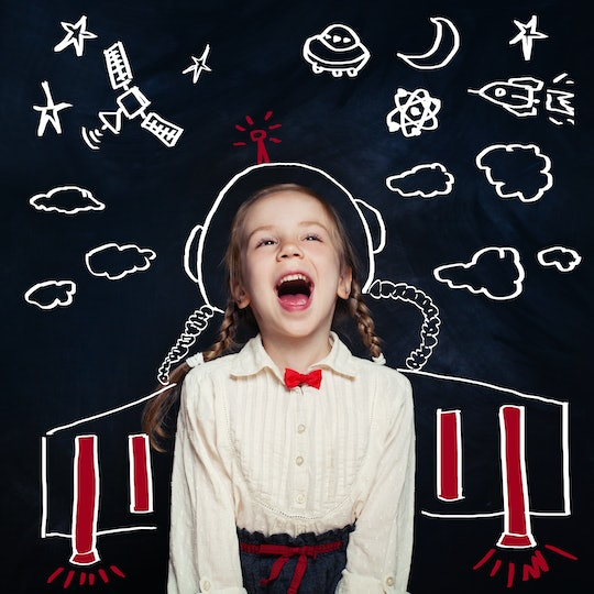 Creativity education with child girl astronaut. Kids inspiration in successful education with creative imagination. Back to school, science, technology, success and start-up concept
