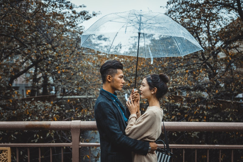 Beautiful happy couple dating in Tokyo