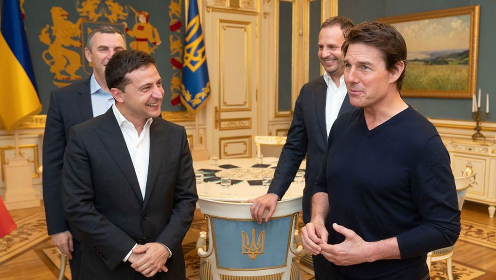 Ukrainian President Volodymyr Zelensky and American actor, film director and producer Tom Cruise talk to each other during their meeting in Kyiv, Ukraine, late. At the invitation of President of Zelensky Tom Cruise arrived in Kyiv