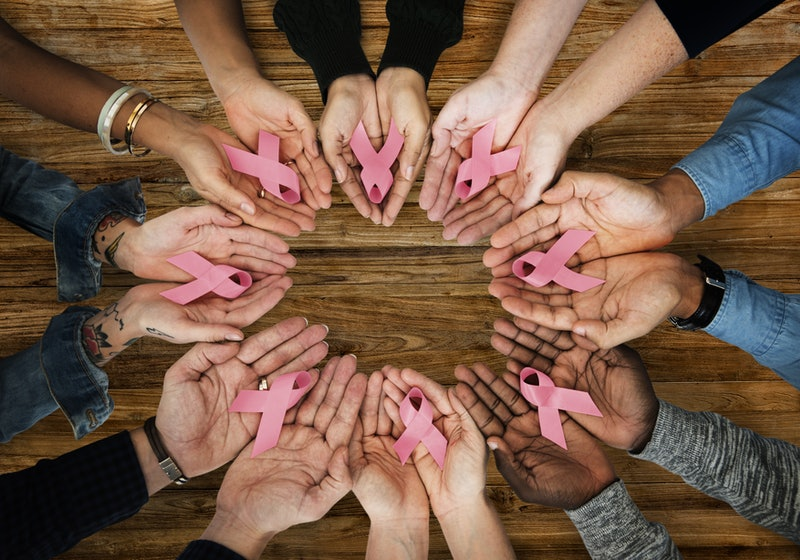 Hands Show Pink Ribbon Breast Cancer Awareness