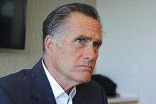 Sen. Mitt Romney, R-Utah, listens to reporters following a roundtable discussion at Intermountain Pr...