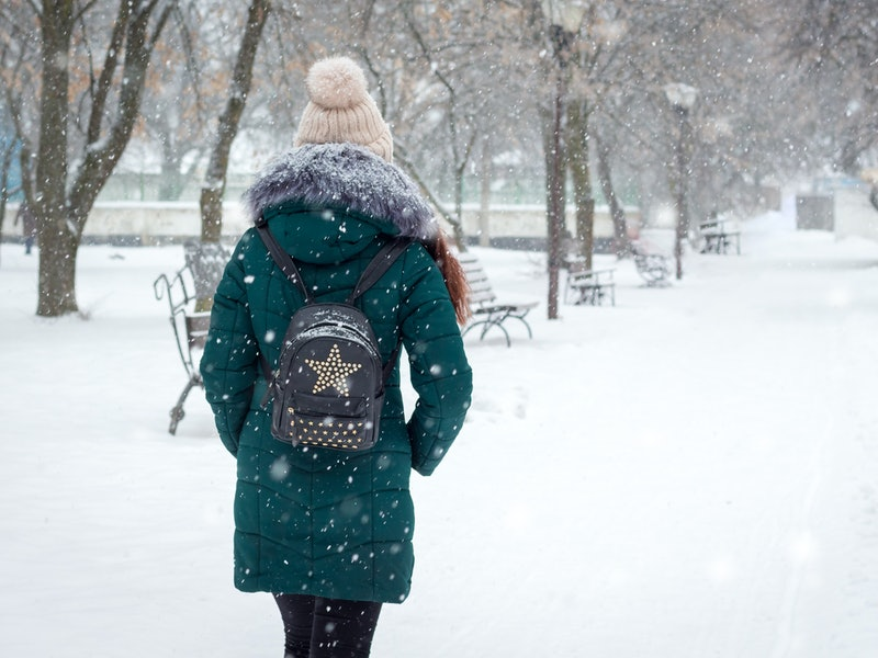 Lonely girl walking in the park during snowfall