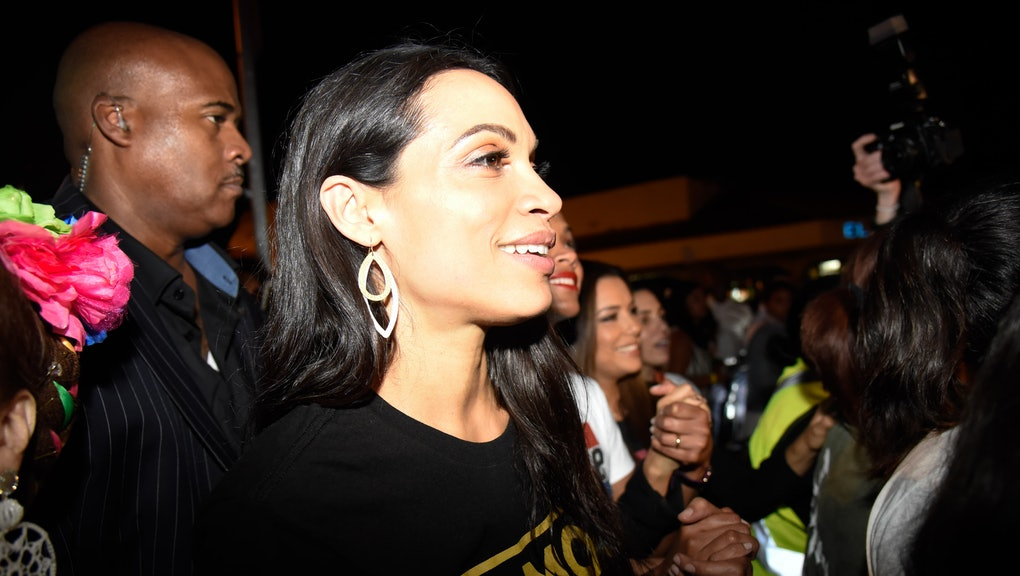 Rosario Dawson canvasses the area of Little Havana along with the New Florida Majority, the Florida Immigrant Coalition, the Center for Popular Democracy Action and the Latino Victory Project 'Latinas En Marcha' to turn out the vote for upcoming midterm elections