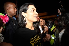 Rosario Dawson canvasses the area of Little Havana along with the New Florida Majority, the Florida ...