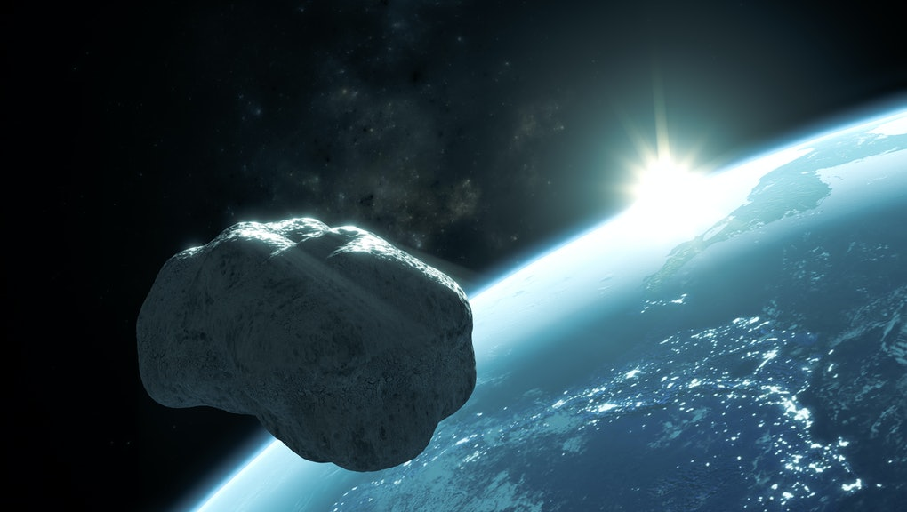 3D rendering of the asteroid Apophis passing near the Earth