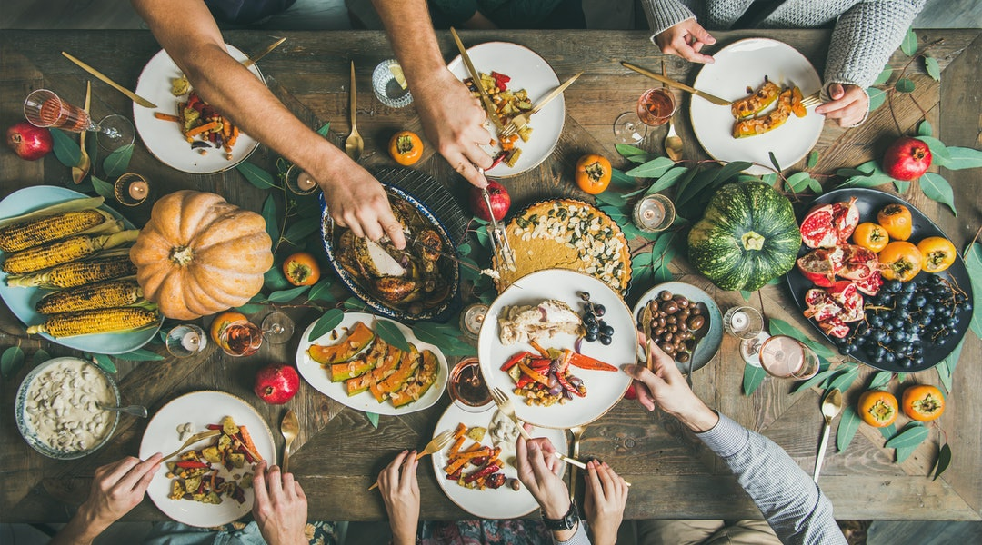 Thanksgiving dinner spread, vegetarian options