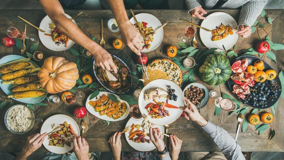 Thanksgiving dinner spread, vegetarian options